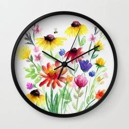 Summer Wildflowers Wall Clock