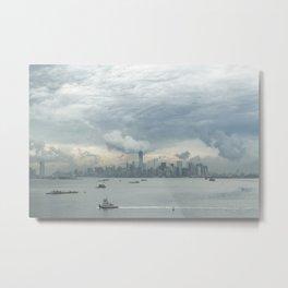 Cloudy New York Harbor Metal Print
