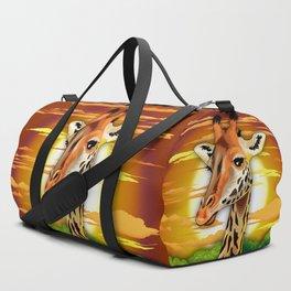 Giraffe on Wild African Savanna Sunset Duffle Bag