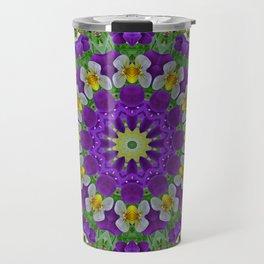 Flower Mandala, Pansies Travel Mug