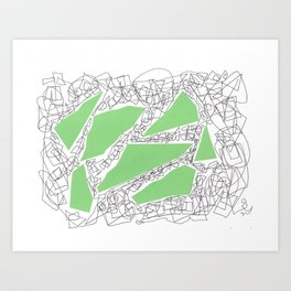 Collage green doodle Art Print