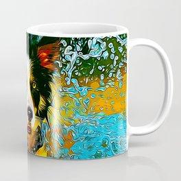 border collie jumping in water vector art Coffee Mug