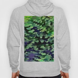 Foliage Abstract Camouflage In Forest Green and Black Hoody
