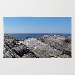 Blue Sea Beyond the Rocks Rug