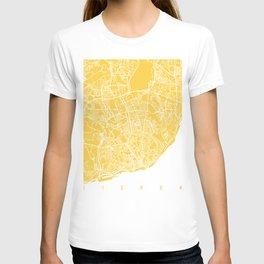 lisbon map yellow T-shirt