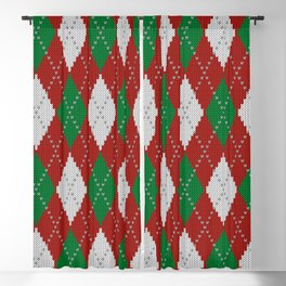 Knitted argyle Christmas sweater pattern on red Blackout Curtain