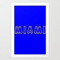 miami Art Prints featuring MIAMI by junaputra