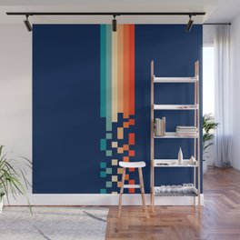 Classic 70s Style Abstract Rainbow Retro Stripes Pixel Drops - Ayako Wall Mural