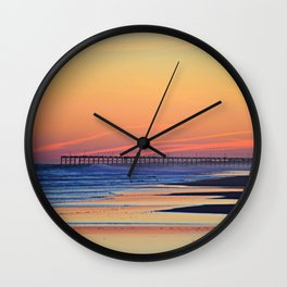 Illuminated Sunset Pier at Surf City NC Wall Clock