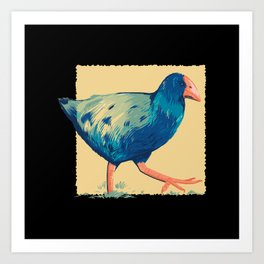 New Zealand Takahe bird blue colored bird drawing Art Print
