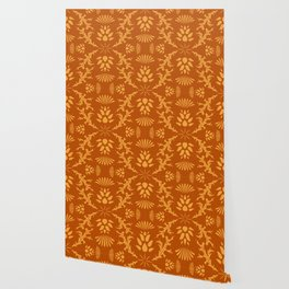 Thistles on Orange Wallpaper
