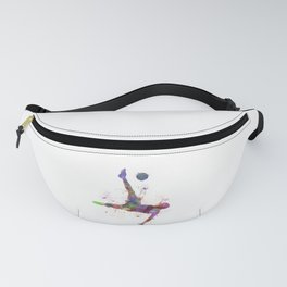 man soccer football player flying kicking silhouette Fanny Pack