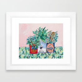 Jungle Botanical in Colorful Cans on Pink - Still Life Framed Art Print
