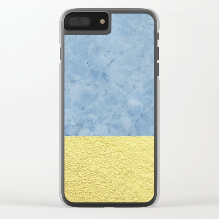 Royal blue and gold marble Clear iPhone Case