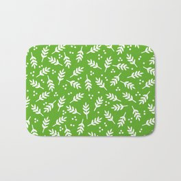 Christmas Pattern, Whimsical Leaves, Green Bath Mat