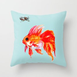 Goldfish and Cicada Throw Pillow