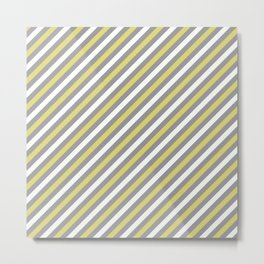 Grey and Yellow Stripe Pattern Metal Print
