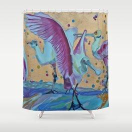 Pink Ibis Rain Shower Curtain