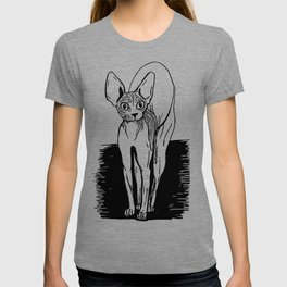 Black and White Sphynx Cat Line Drawing - Sphynx Lovers Gift - Naked Cat - Wrinkly Kitty T-shirt