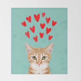 Mackenzie - Orange Tabby Cute Valentines Day Kitten Girly Retro Cat Art cell phone Throw Blanket
