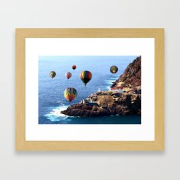 Flying Colorful Hot air Balloons over Newfoundland Framed Art Print