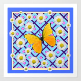 Yellow Butterfly on  Blue-pink Shasta Daisy Abstract Pattern Art Print