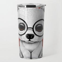 Cute Polar Bear Cub with Eye Glasses on Red Travel Mug