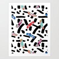 skate Art Prints featuring Skate by Lara Gurney