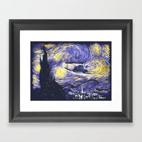 Starry Delorean Framed Art Print