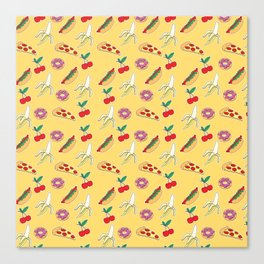 Modern yellow red fruit pizza sweet donuts food pattern Canvas Print