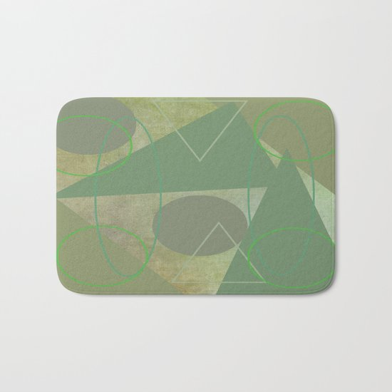 Subdued Green Geometric Abstract Bath Mat