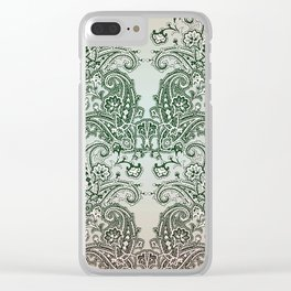 paisley on greenish grey Clear iPhone Case