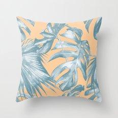 Island Vacation Hibiscus Palm Mango Ocean Blue Throw Pillow