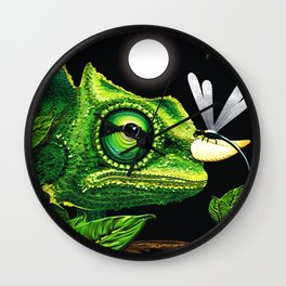 Chameleon and Dragonfly on Moonlight Wall Clock