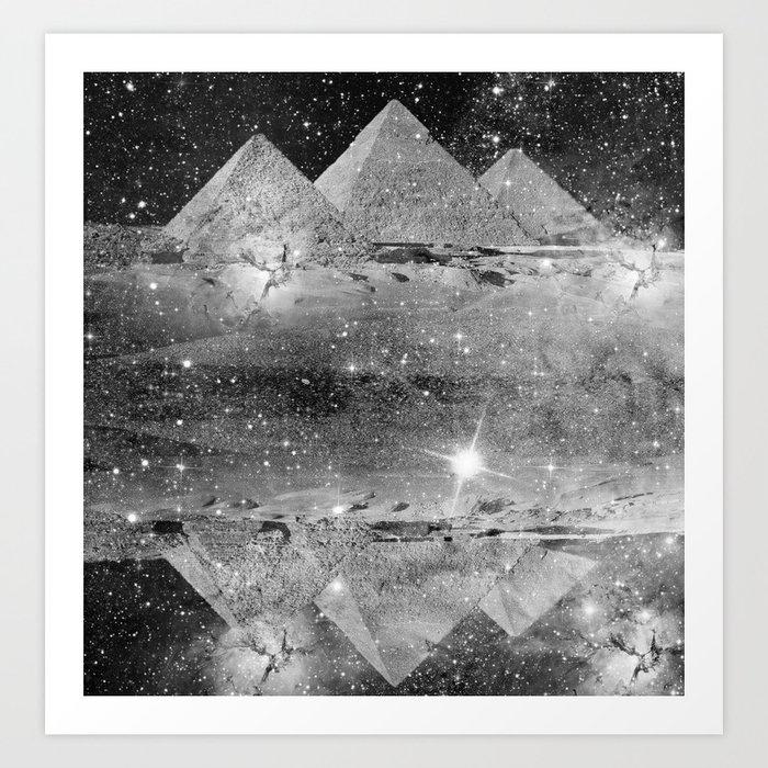 B&W pyramids Art Print