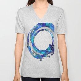 Blue And White Abstract Art - Swirling 1 - Sharon Cummings Unisex V-Neck