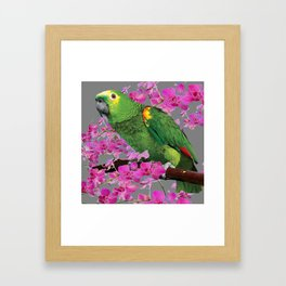 TROPICAL GREEN PARROT & FUCHSIA ORCHIDS  GREY ART Framed Art Print