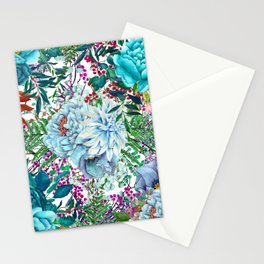 Teal Floral Collage Stationery Cards