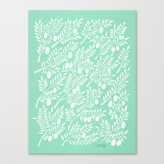 Mint Olive Branches Canvas Print