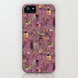 Wine and Cheese Pattern Print iPhone Case