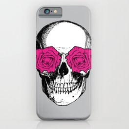 Skull and Roses | Grey and Pink iPhone Case