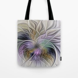Abstract Flower, Colorful Floral Fractal Art Tote Bag