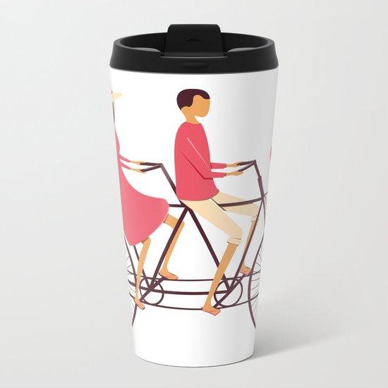 Love Couple riding on the bike Metal Travel Mug