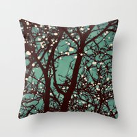 night Throw Pillows featuring Night Lights by elle moss