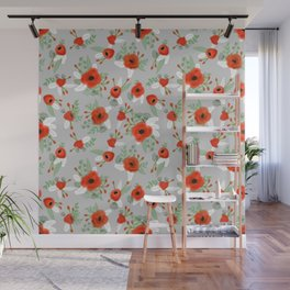 Poppy flower painted pattern floral florals prints poppies red Wall Mural