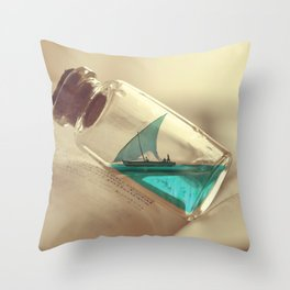 Boat in a bottle Throw Pillow