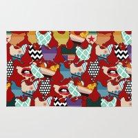 cincinnati Area & Throw Rugs featuring Cincinnati Chickens red by Sharon Turner
