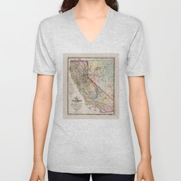 Map of the State of California (1867) Unisex V-Neck