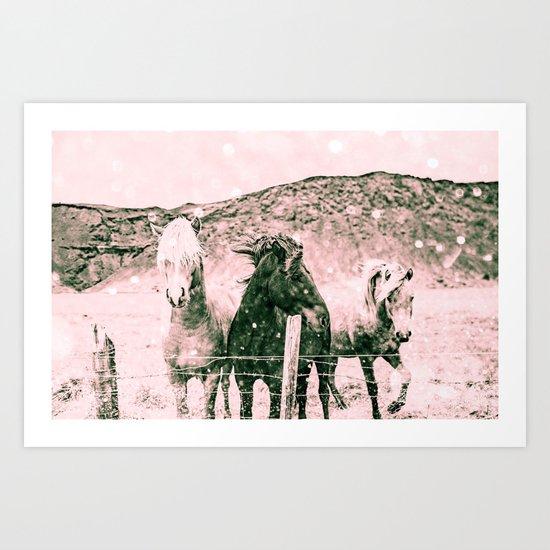 Southwest Horses Black and White Art Print