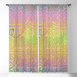 DP050-4 Colorful Moroccan pattern Sheer Curtain